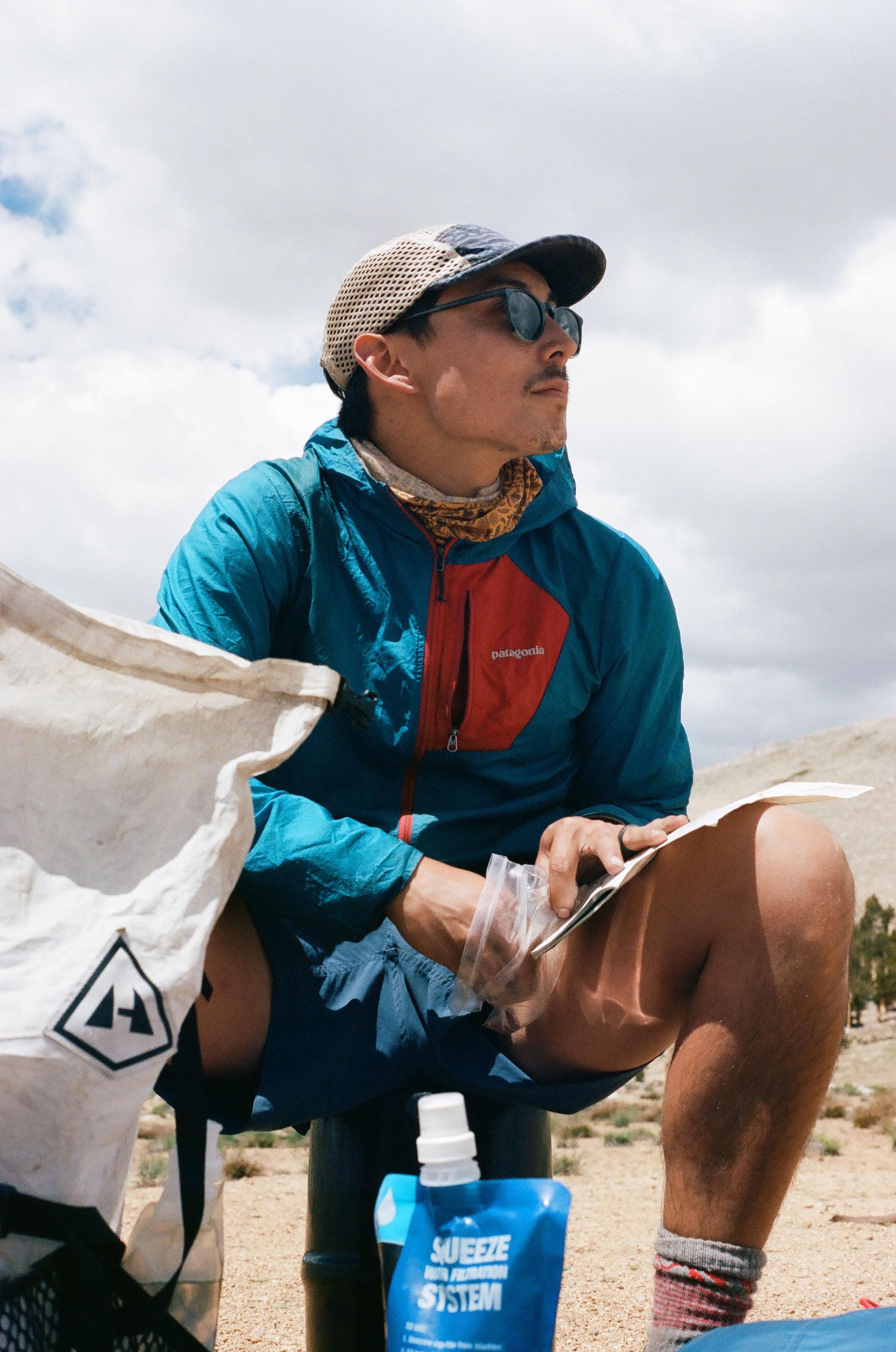 Trail running hat, buff and Stance Socks, 35mm film