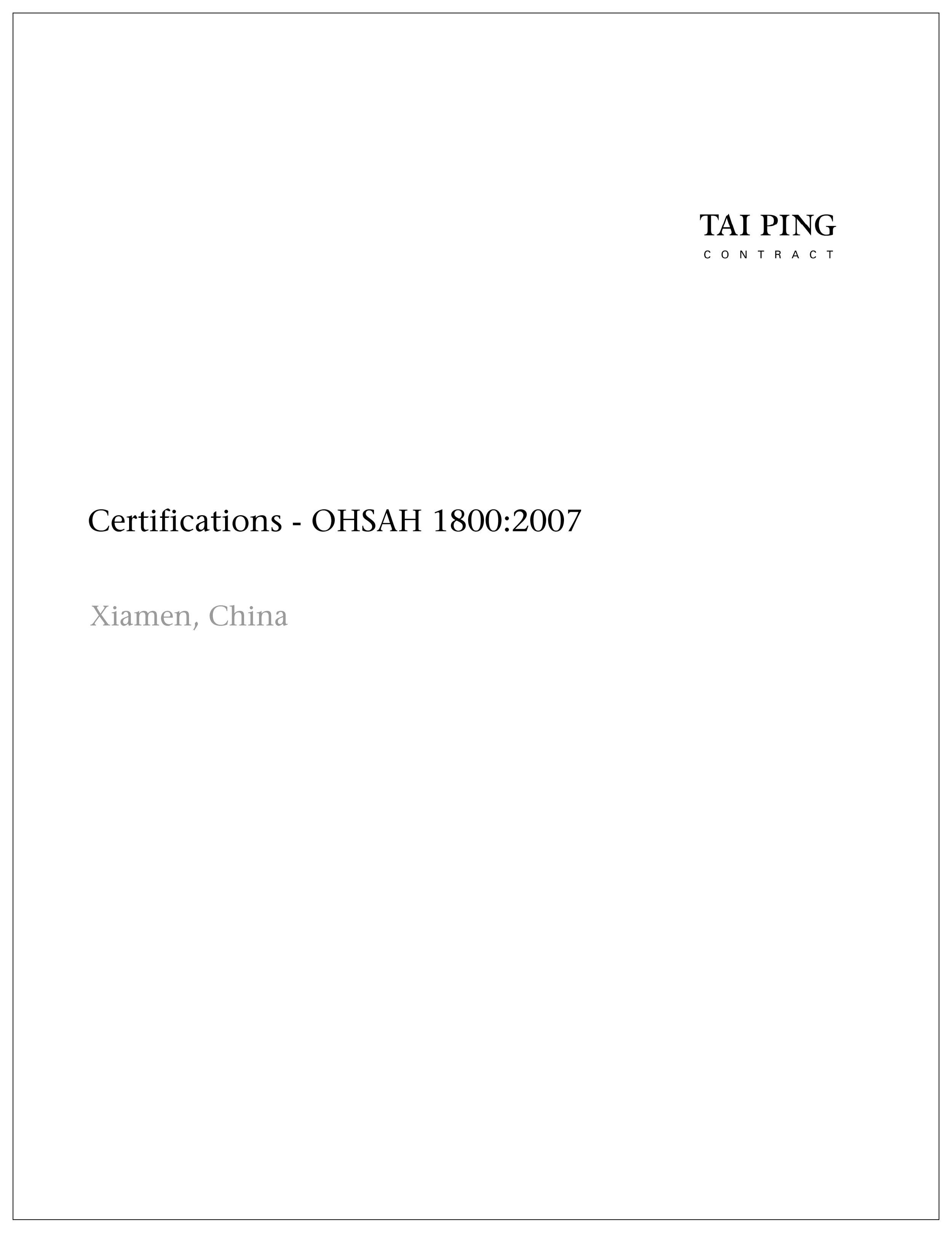 OSHAH 18001: 2007