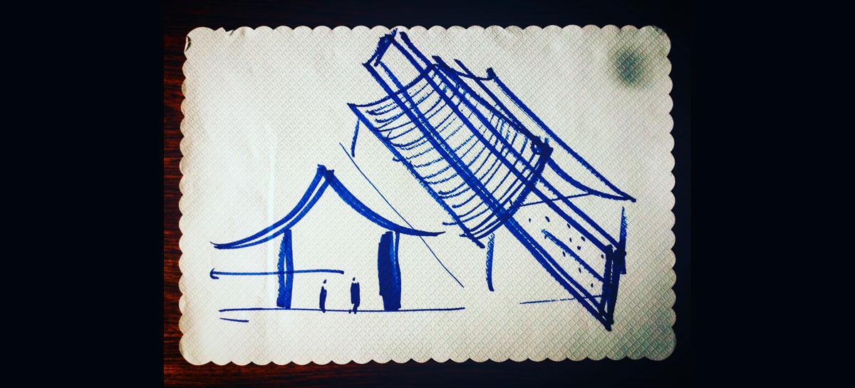 Primer boceto de Casa Wabi por Tadao Ando