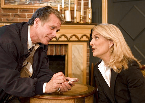 nspector Ascher (Richard Shoberg) interviews Psychiatrist Margaret Brent (played by Catherine Russell).
