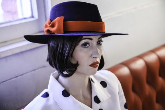 Rebecca Larson in A Fall 2014 Corina Haywood Hats Large Brim Fedora with Fur Felt Bow -Nothing Images