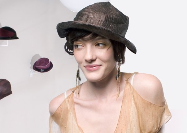 """Free Form Sculpted Parisisal Women's Hat """"Truffle"""" from The Spring 2005 Look Book for Myla & CO. in Collaboration with Deanna Anais, Stylist"""