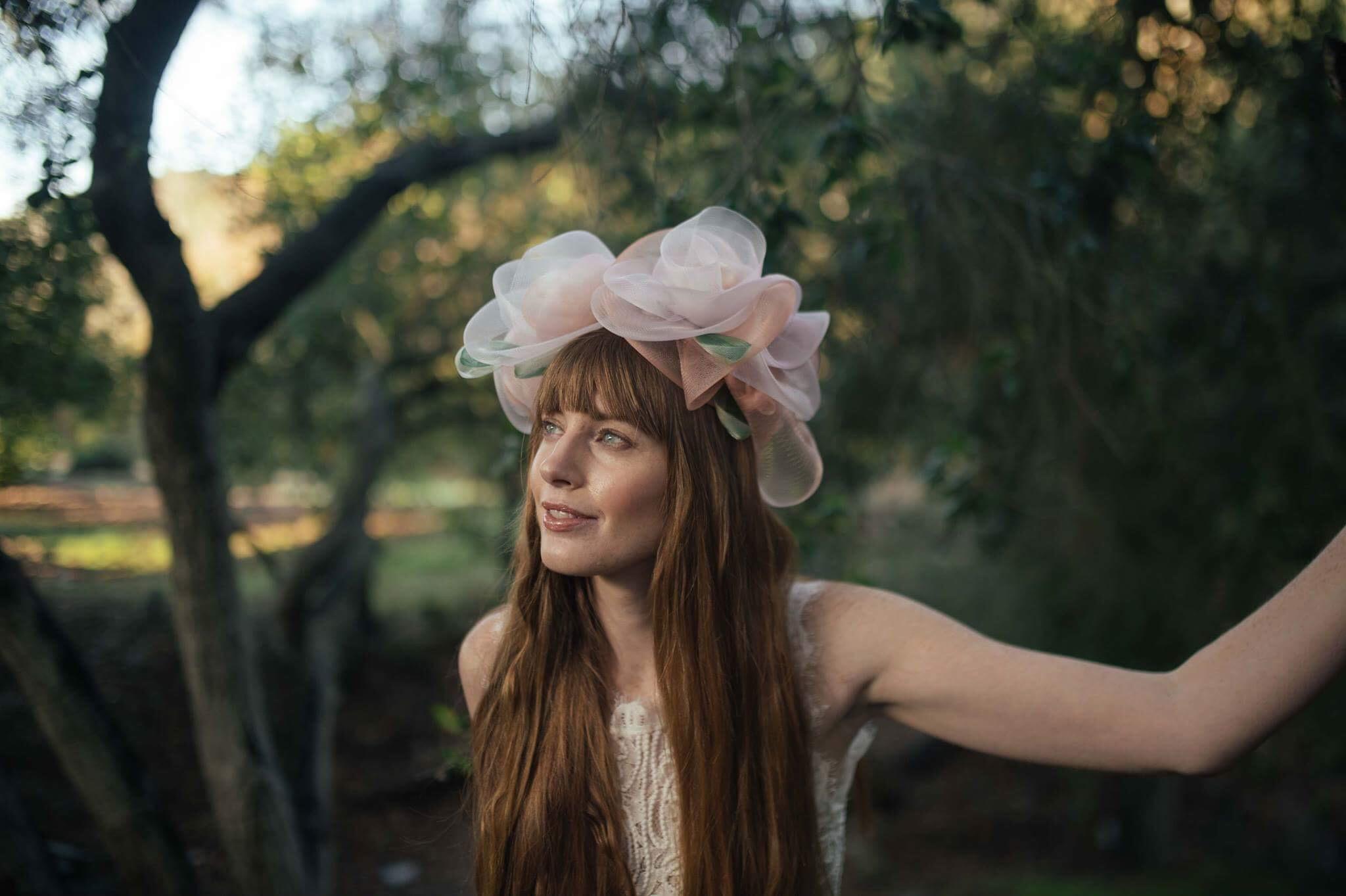 "Corina Haywood Hats Crinoline Flower Fairy Crown ""Rose""                                                                                                           Model:Raeshae Shane - Photographer: Tian Liu - Makeup Artist:Thirati K Kulyingwattanavit -Hair Stylist:Shawnt'a Johns"