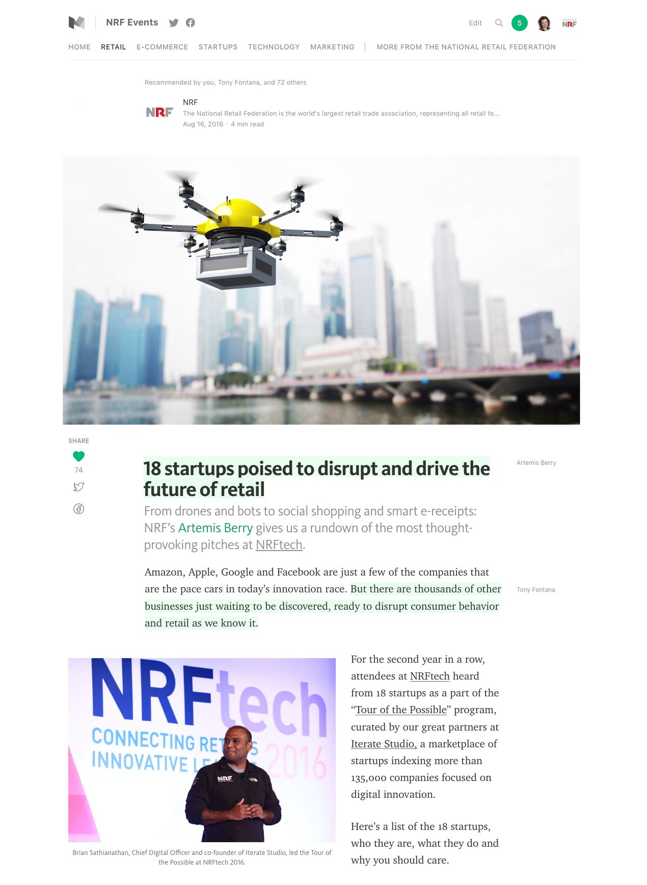 Stories about startups  are among the most popular in the  NRF Events publication on Medium .