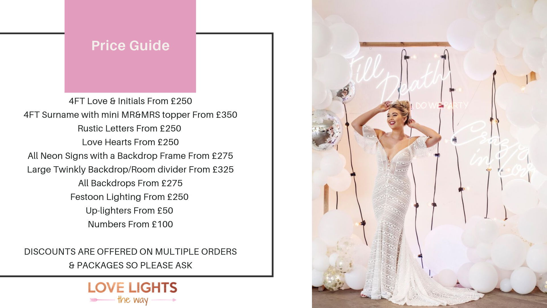 Price Guide - Whilst we get back to you with a personalised quote, take a look at our price guide