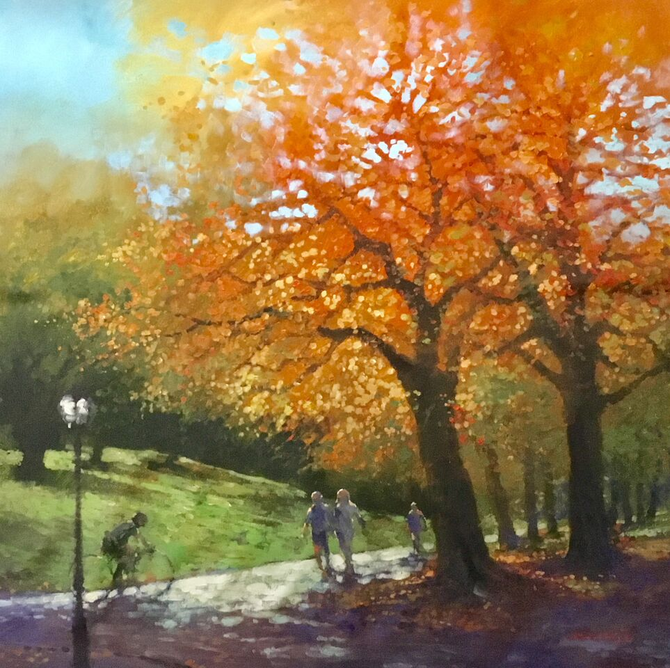 "David Hinchliffe ""Autumn Walk"" Acrylic on Canvas 32"" x 32"" $2550"