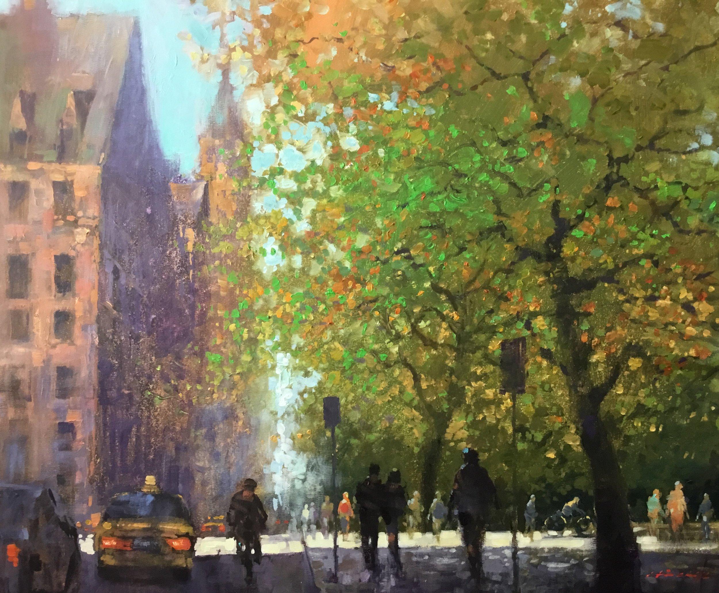 "David Hinchliffe ""Fall on Central Park West"" Acrylic on Canvas 32"" x 30"" $2650"