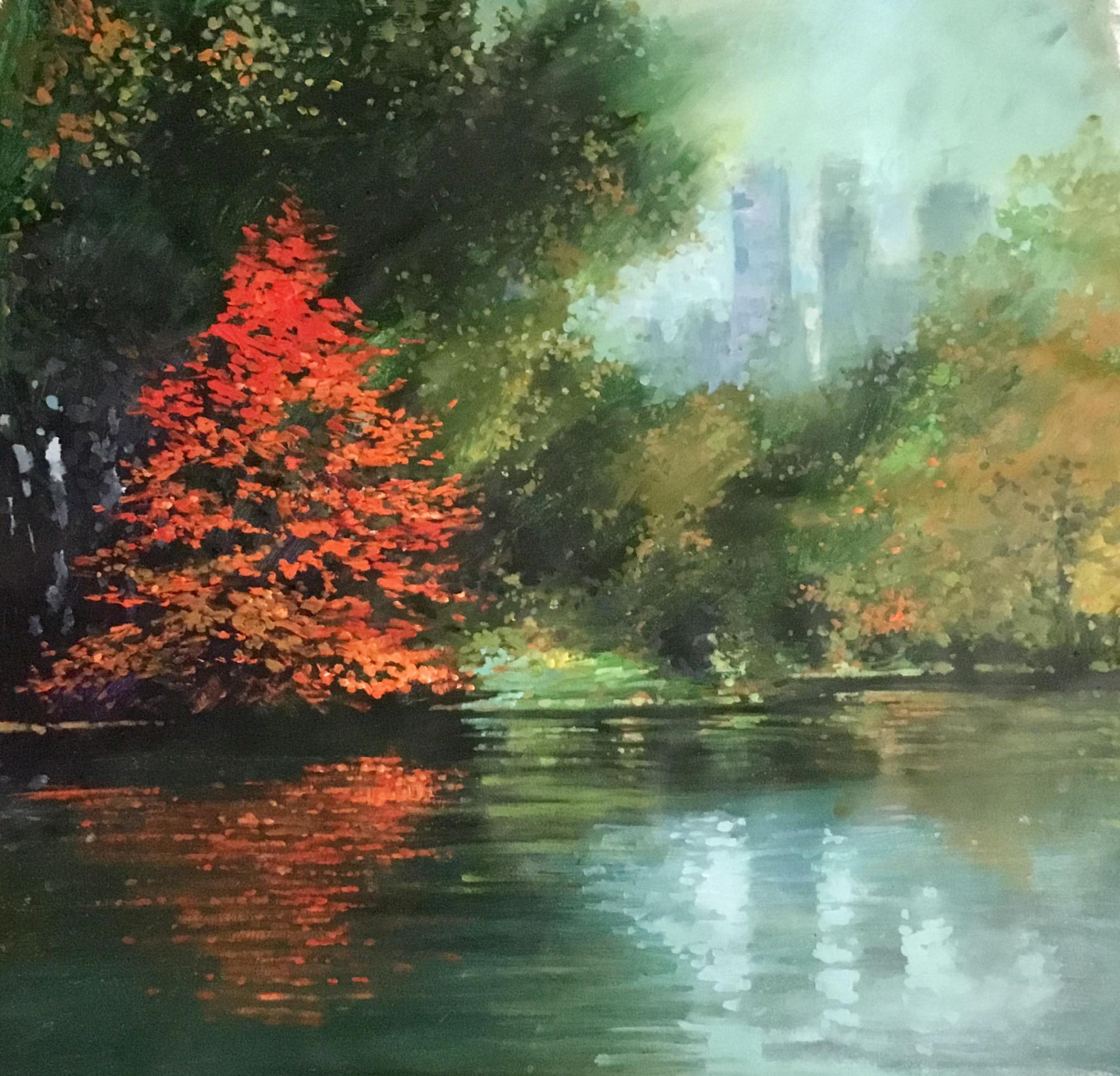 "David Hinchliffe ""November in Central Park"" Acrylic on Canvas 32"" x 32"" $2750"