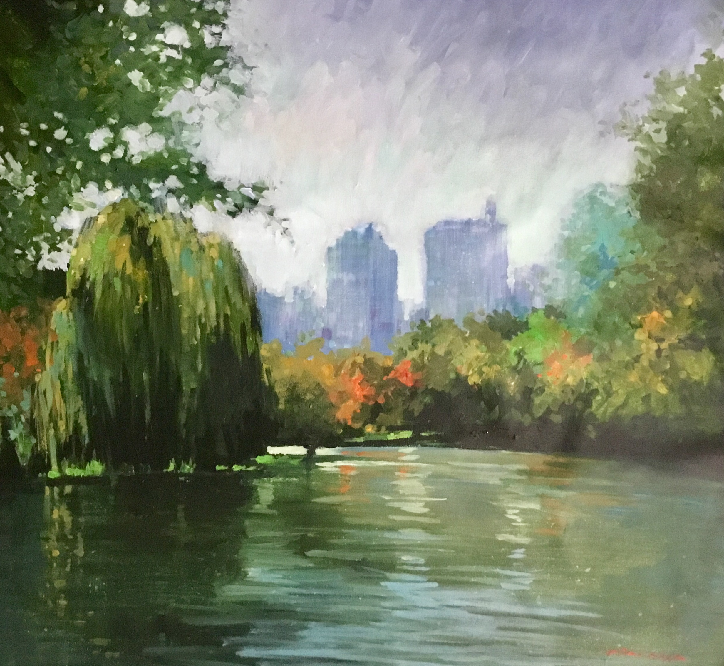 "David Hinchliffe ""Reflections in Central Park"" Acrylic on Canvas 32"" x 32"""