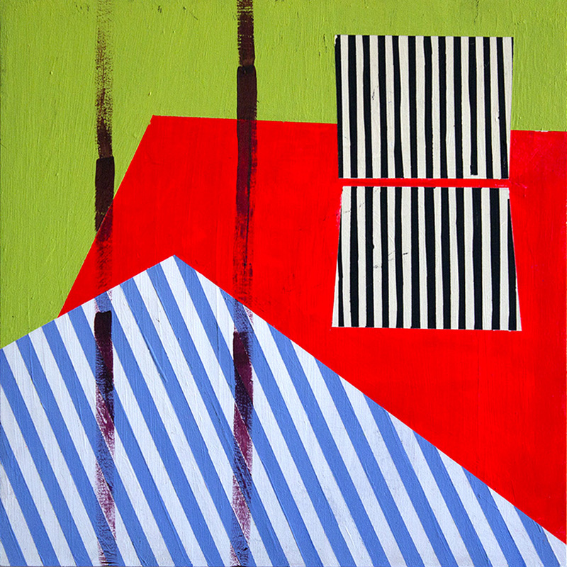"Claire Bendiner ""Stripes"" Vinyl and acrylic on wood, 16"" x 16"""
