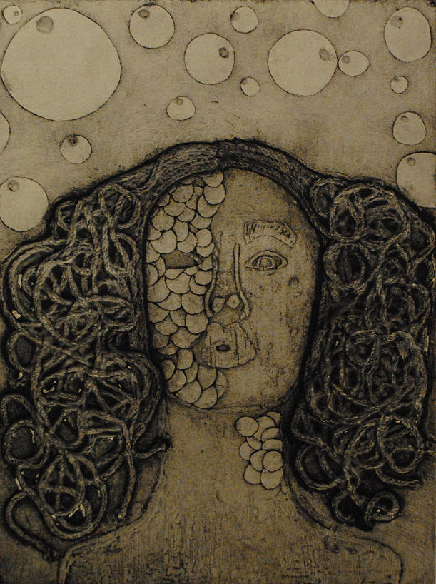 "Adelie Jimenez ""Mysterious Woman in Black"" Collagraph Print 9"" x 12"""