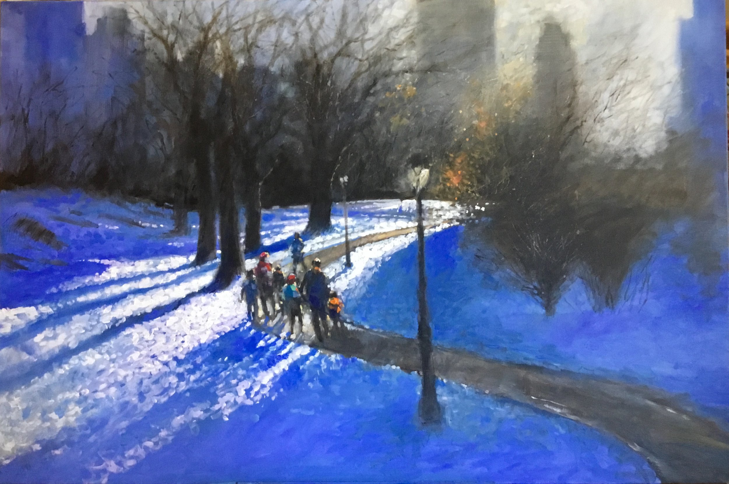 """David Hinchliffe """"Winter Sun"""" Acrylic on Canvas 40"""" x 60"""" $4600"""