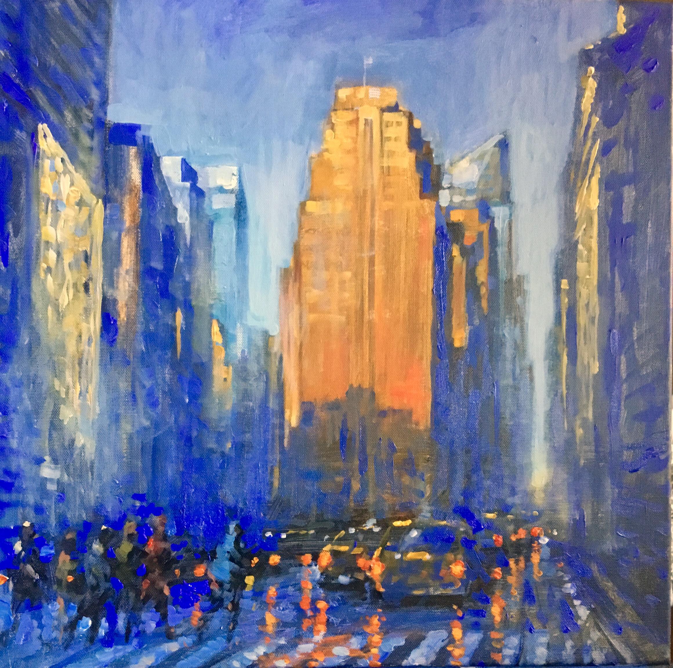 "David Hinchliffe ""1240 Broadway"" Acrylic on Canvas 18"" x 18"" $1200"