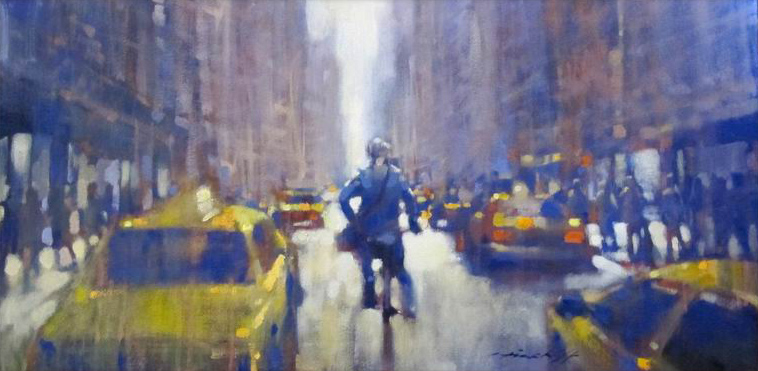 "David Hinchliffe ""Bill Cunningham Goes For A Ride"" Oil on Canvas 16"" x 32"""