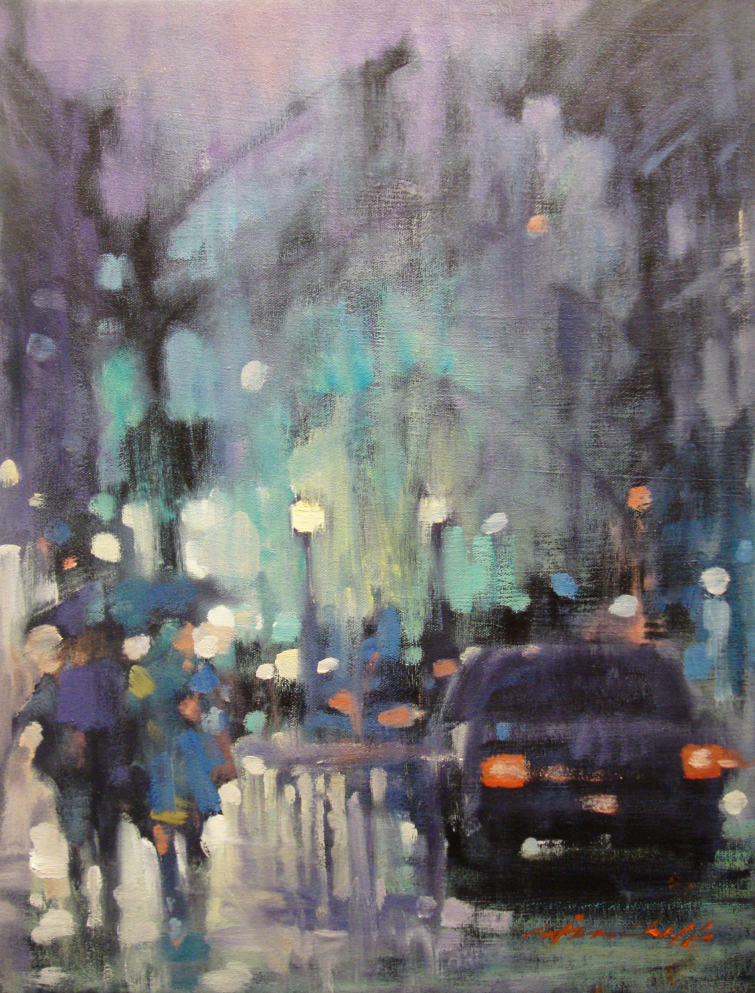 """David Hinchliffe """"Brooklyn Fog"""" Oil on Canvas 16"""" x 21"""""""