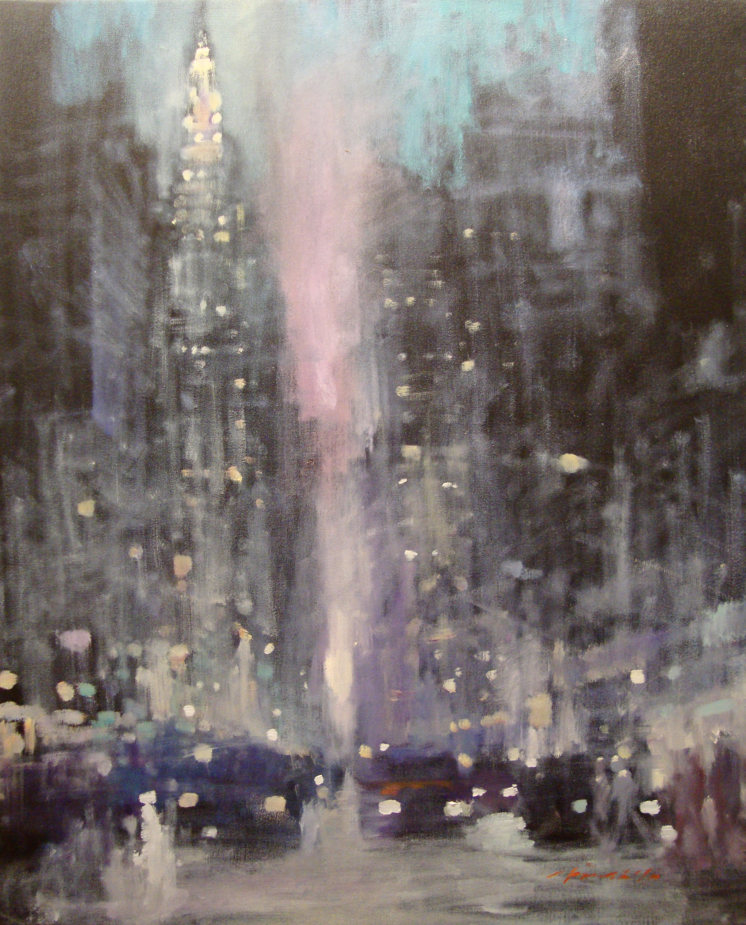 "David Hinchliffe ""Empire State Dusk"" Oil on Canvas 29"" x 36"""