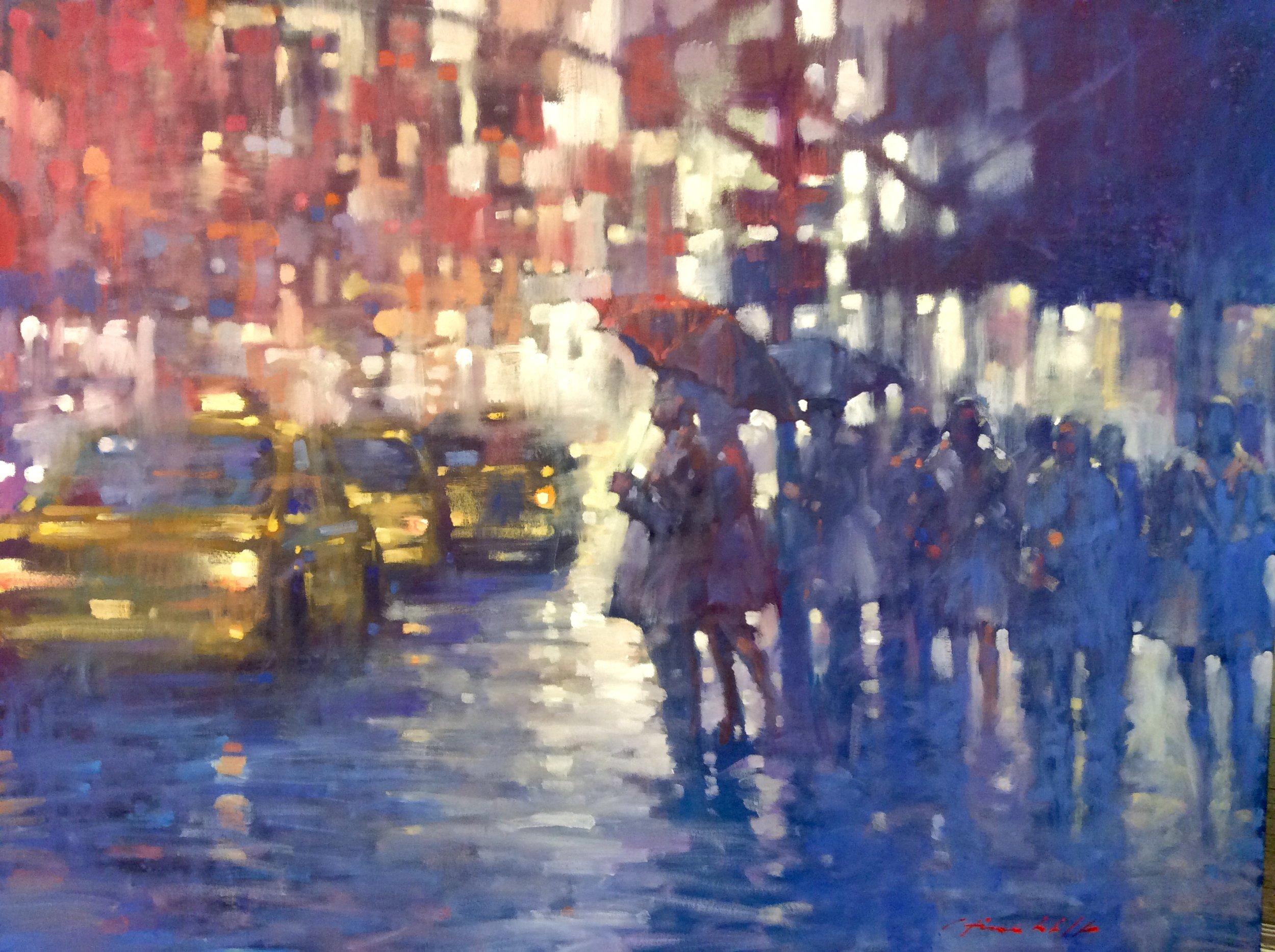 "David Hinchliffe ""The Red Umbrella"" Oil on Canvas 60"" x 48"""