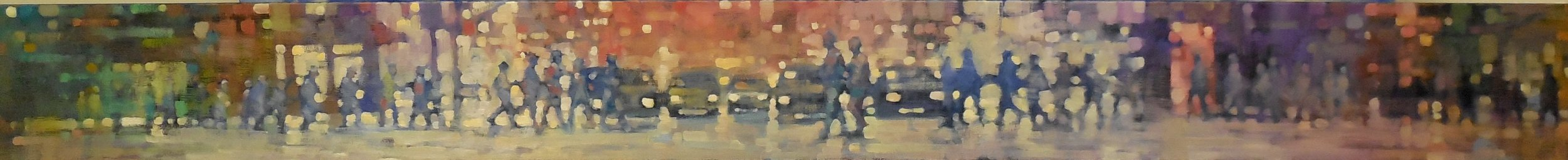 "David Hinchliffe ""Street Panorama"" Oil on Canvas 102"" x 10"""