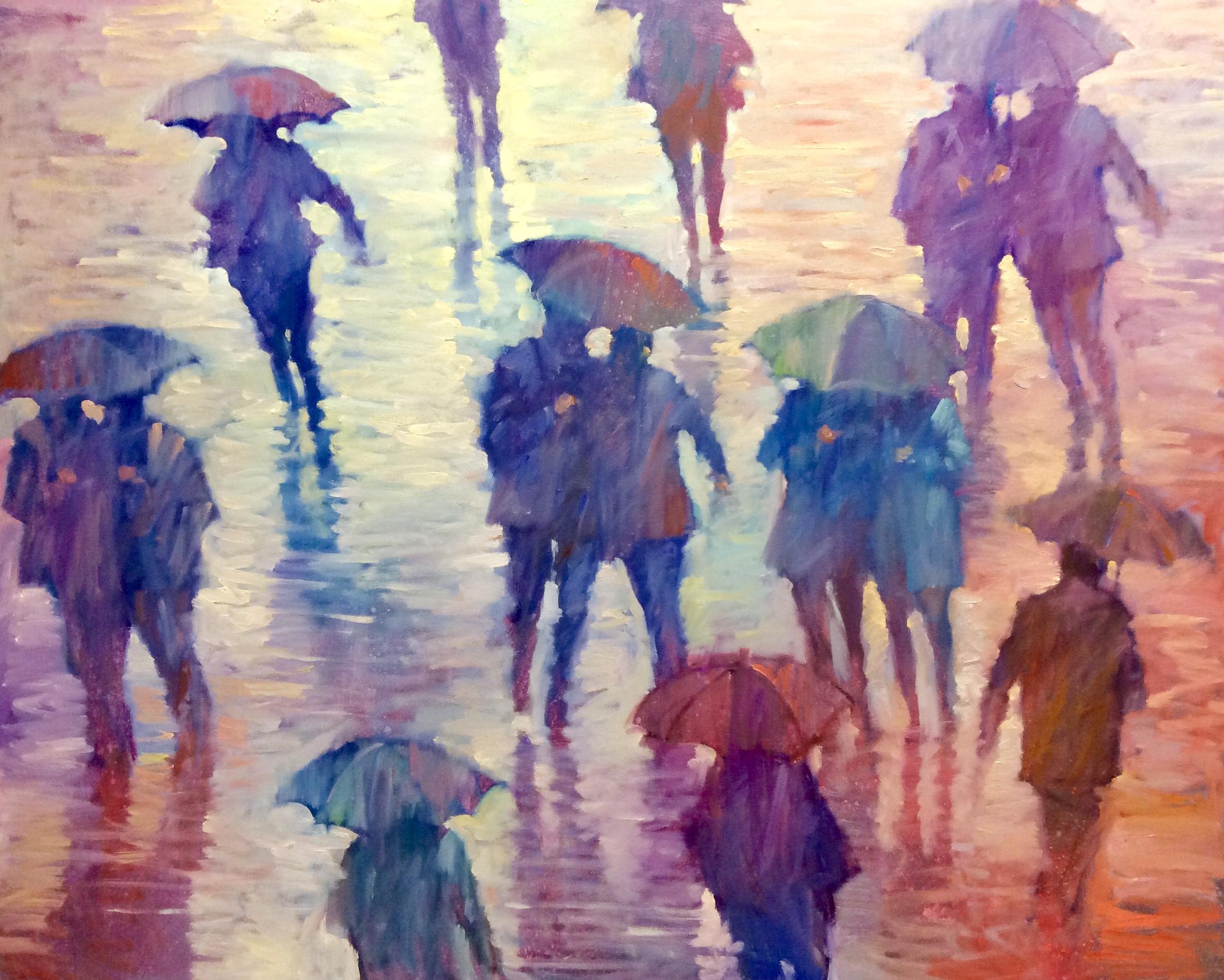 """David Hinchliffe """"Times Square Deluge"""" Oil on Canvas 60"""" x 48"""""""