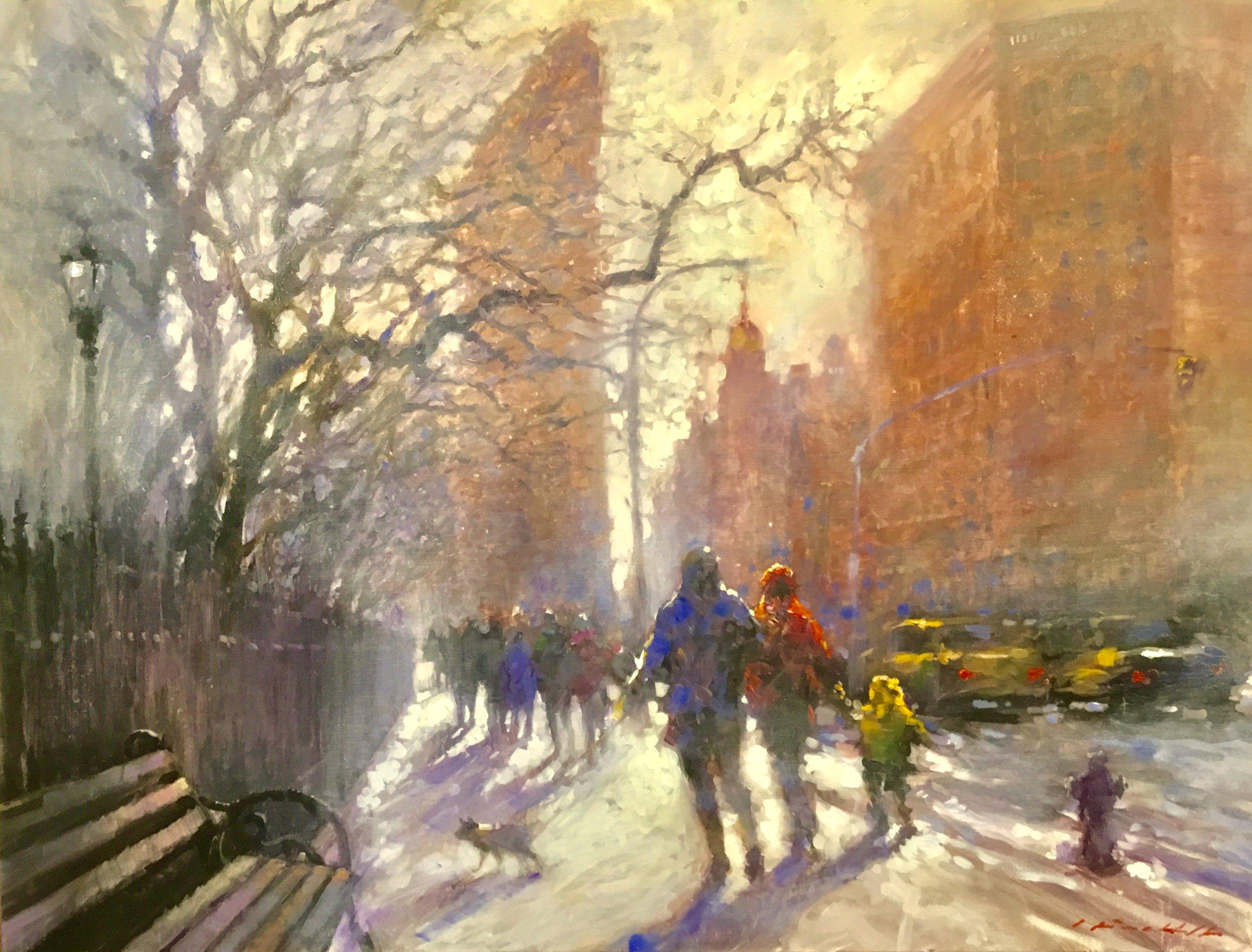 "David Hinchliffe ""Winter Stroll"" Acrylic on Canvas 30"" x 40"" $3200"