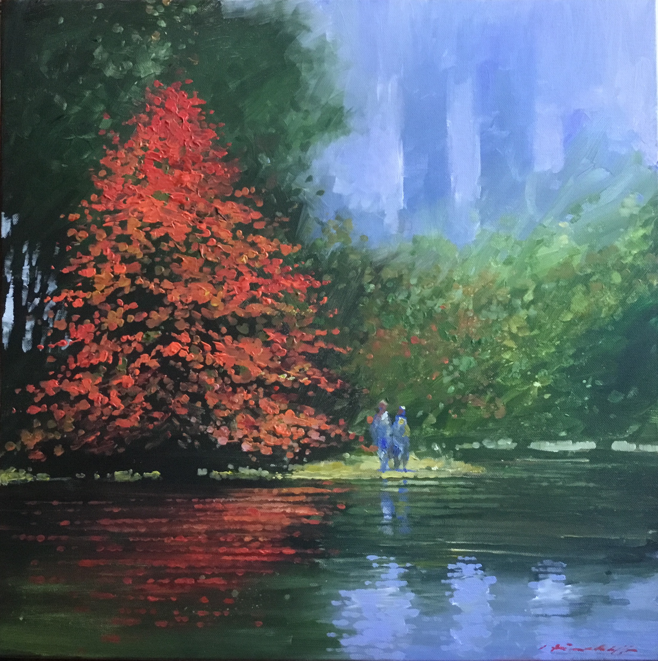 "David Hinchliffe ""Study for November in Central Park"" Acrylic on Canvas 18"" x 18"""