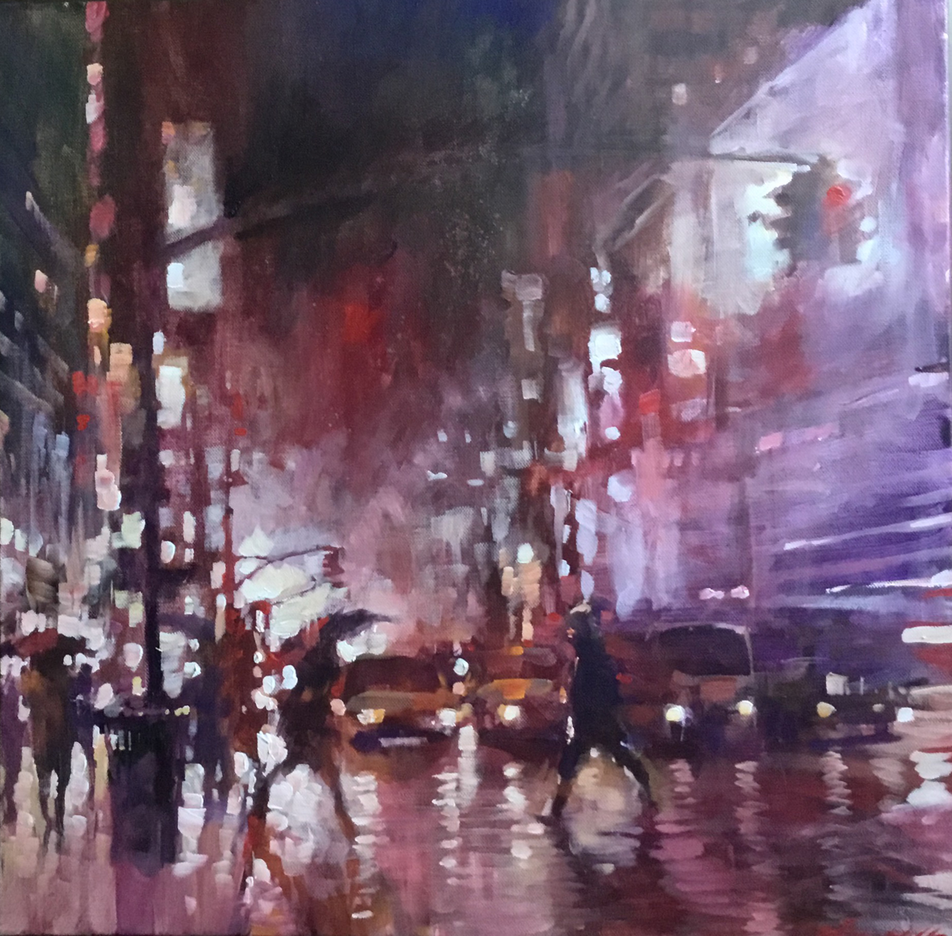 "David Hinchliffe ""Crossing at 42nd. St. at 5am, Winter"" Acrylic on Canvas 18"" x 18"""