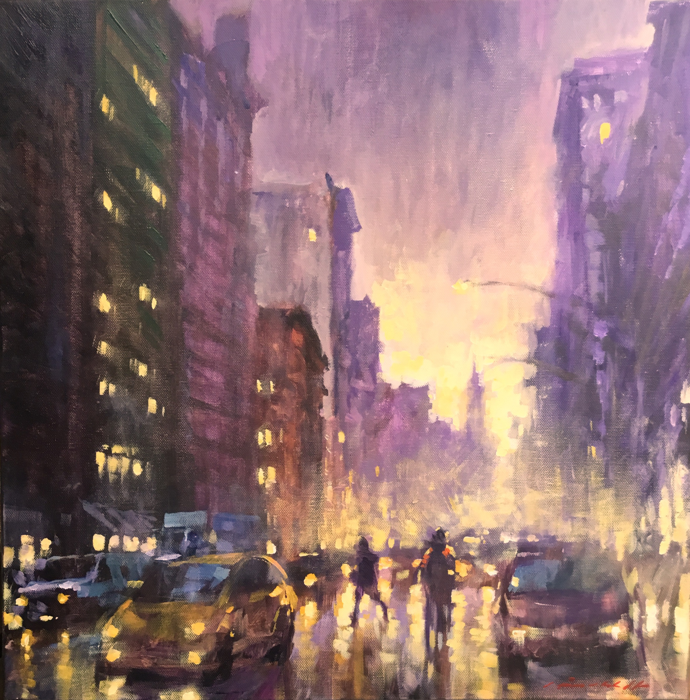 "David Hinchliffe ""The Lights are on in the SInger Building"" Acrylic on Canvas 18"" x 18"""