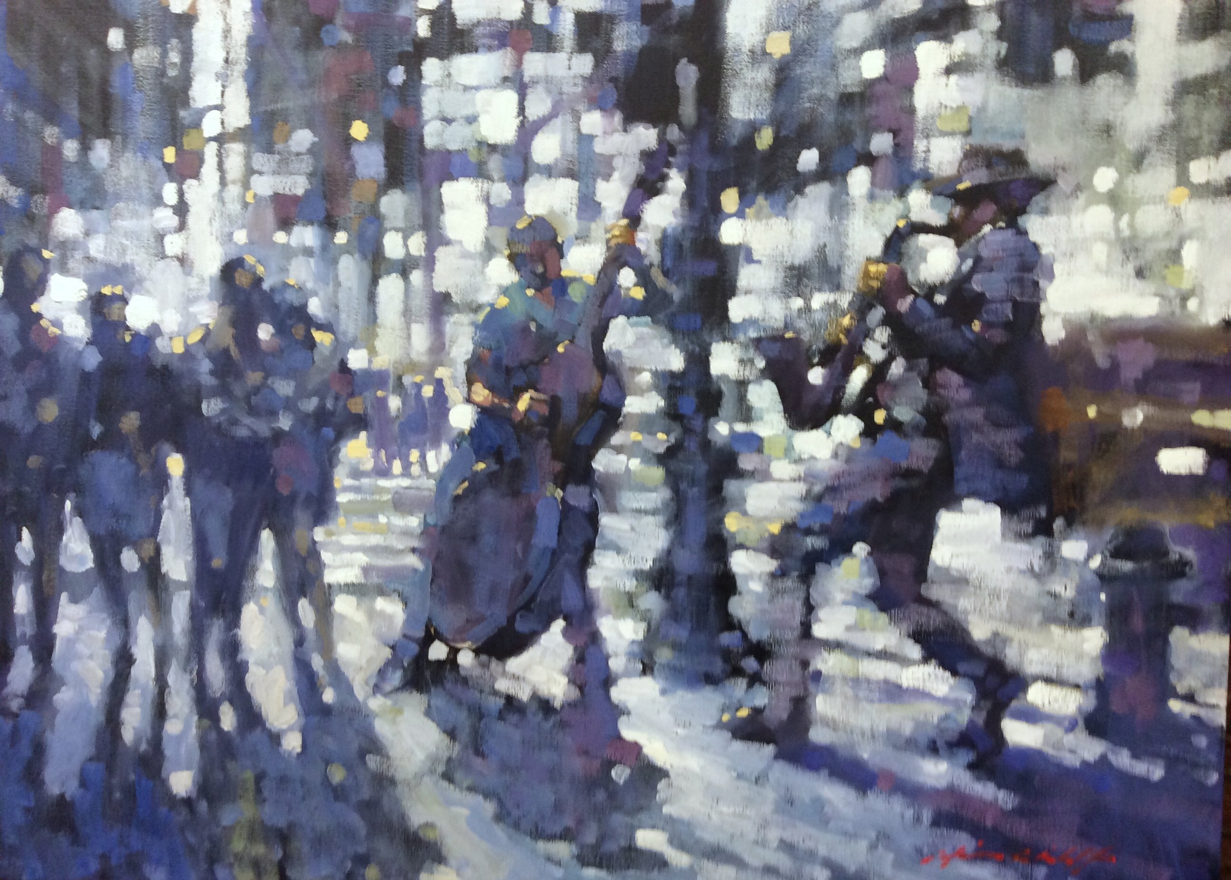 "David Hinchliffe ""Jazz on Times Square"" Oil on Canvas"