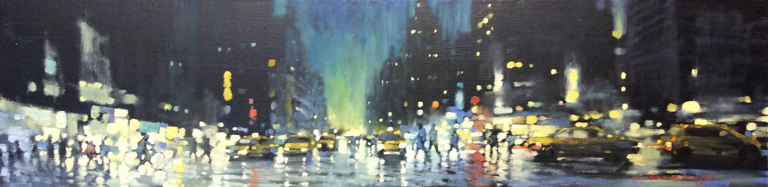 "David Hinchliffe ""Midtown Dusk"" Oil on Canvas   48"" x 12"""