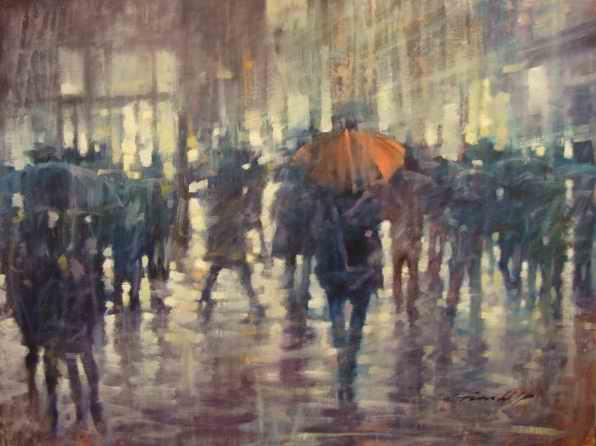 "David Hinchliffe ""Red Umbrella"" Oil on Canvas 30"" x 40"""