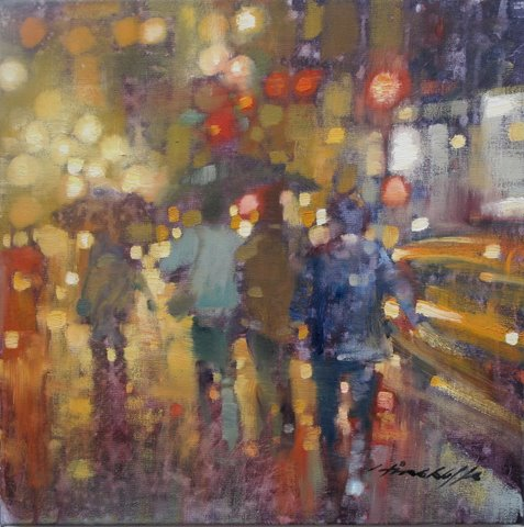 "David Hinchliffe ""Rush Hour"" Oil on Canvas 18"" x 18"""