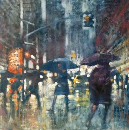 "David Hinchliffe ""Study for Rain"" Oil on Canvas 18"" x 18"""