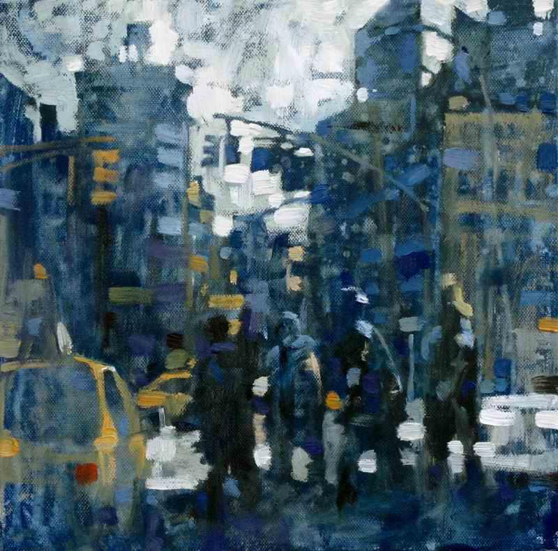 """David Hinchliffe """"Taxi Queue"""" Oil on Canvas 12"""" x 12"""""""