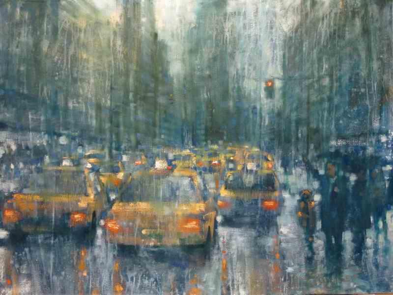 "David Hinchliffe ""Taxi!"" Oil on Canvas 30"" x 40"""