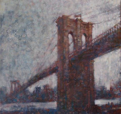 "David Hinchliffe ""Across to Brooklyn"" Oil on Canvas 18"" x 18"""
