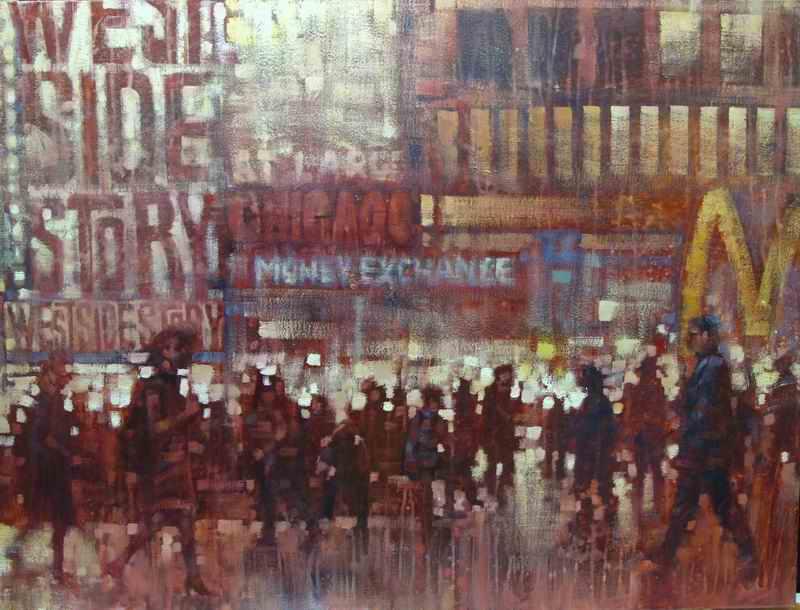 "David Hinchliffe ""Broadway Lights"" Oil on Canvas 30"" x 40"""