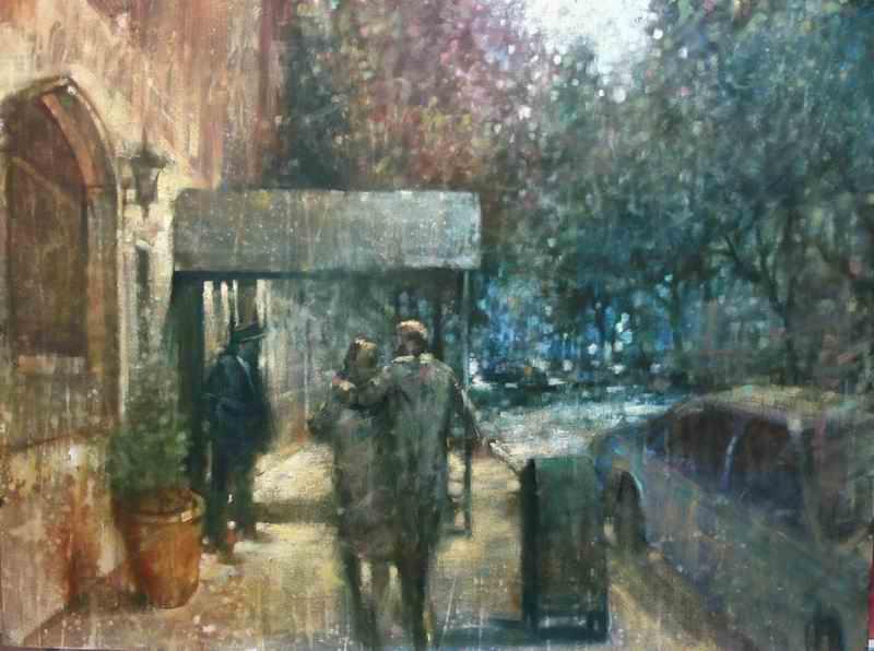 "David Hinchliffe ""Doorman, Upper East Side"" Oil on Canvas 30"" x 40"""