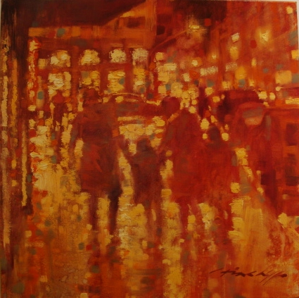 """David Hinchliffe """"Family Outing"""" Oil on Canvas 18"""" x 18"""""""