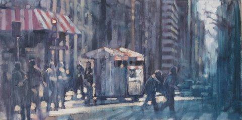"David Hinchliffe ""Stripes"" Oil on Canvas 12"" x 24"""