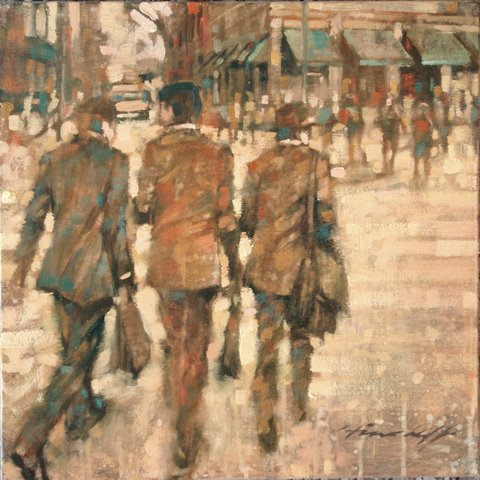 """David Hinchliffe """"Suits"""" Oil on Canvas 18"""" x 18"""""""