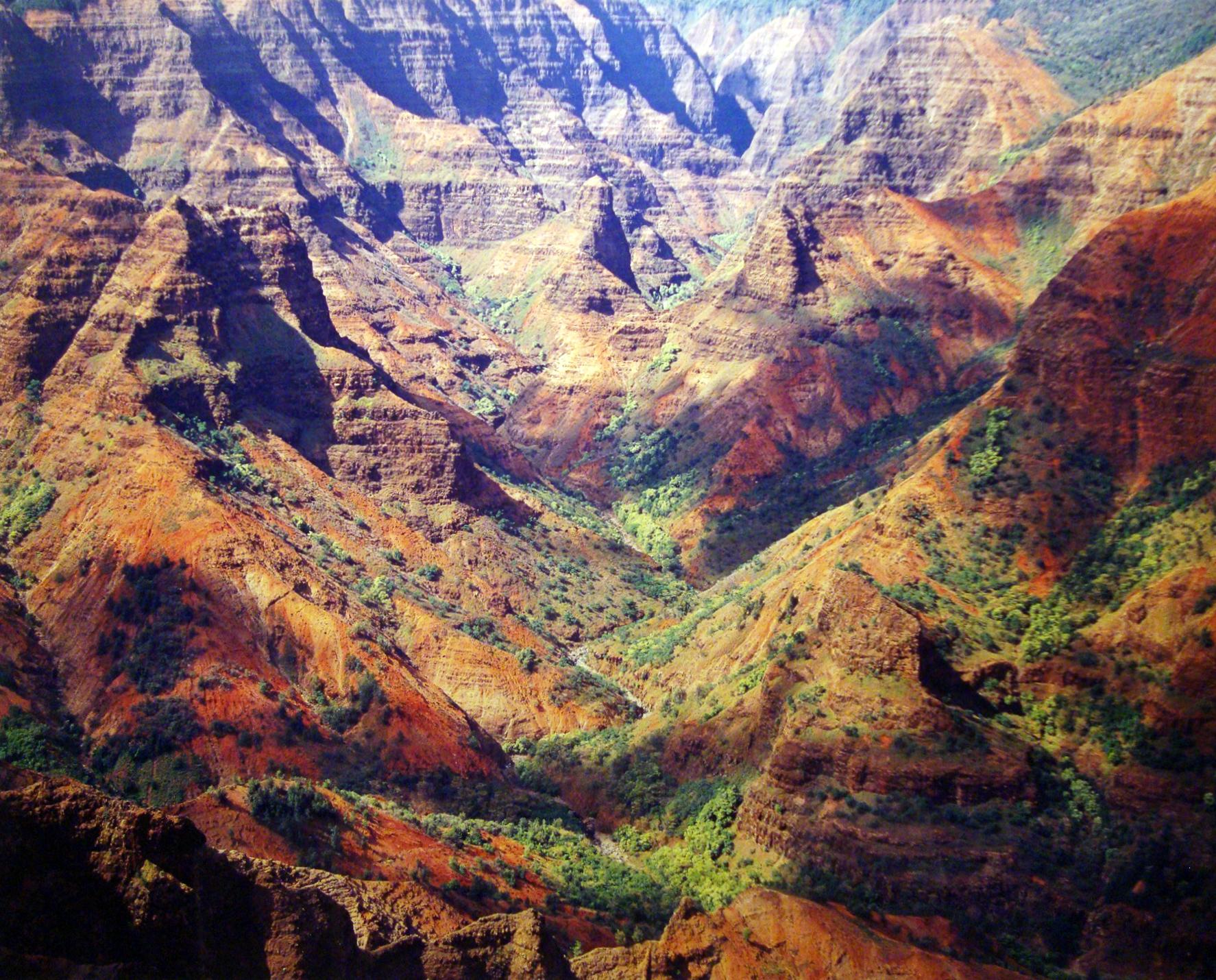 """Christopher Burkett """"Waimea Canyon, Sunlight & Cloud Shadows,"""" Hawaii  Cibachrome Photograph  Available in 20"""" x 24"""", 30"""" x 40"""", and 40"""" x 50"""""""