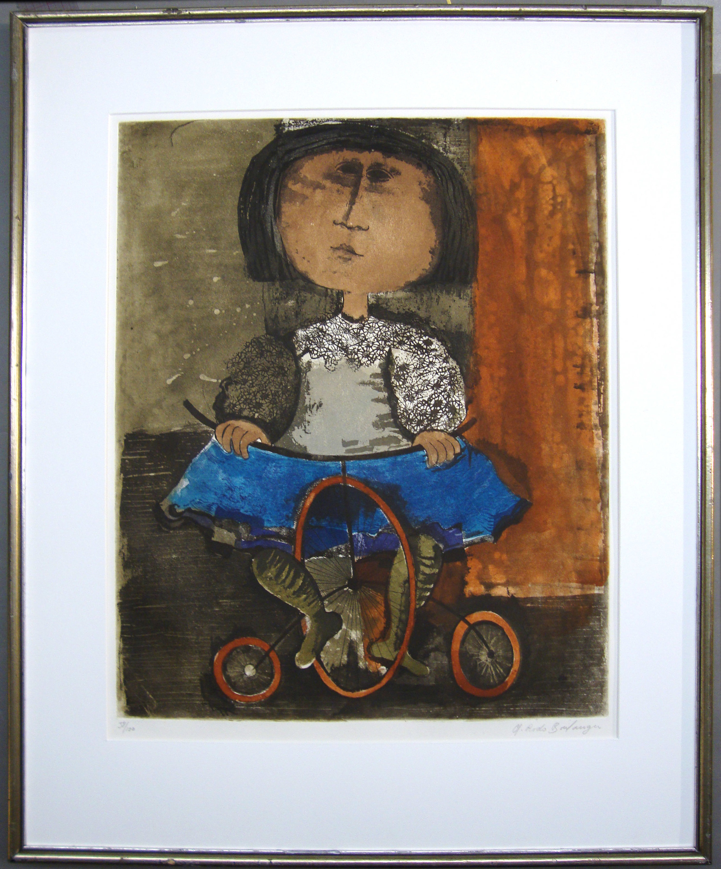 Graciela Rodo Boulanger, Untitled (girl on bicycle), color lithograph, 22.5 x 18, #38-100.JPG