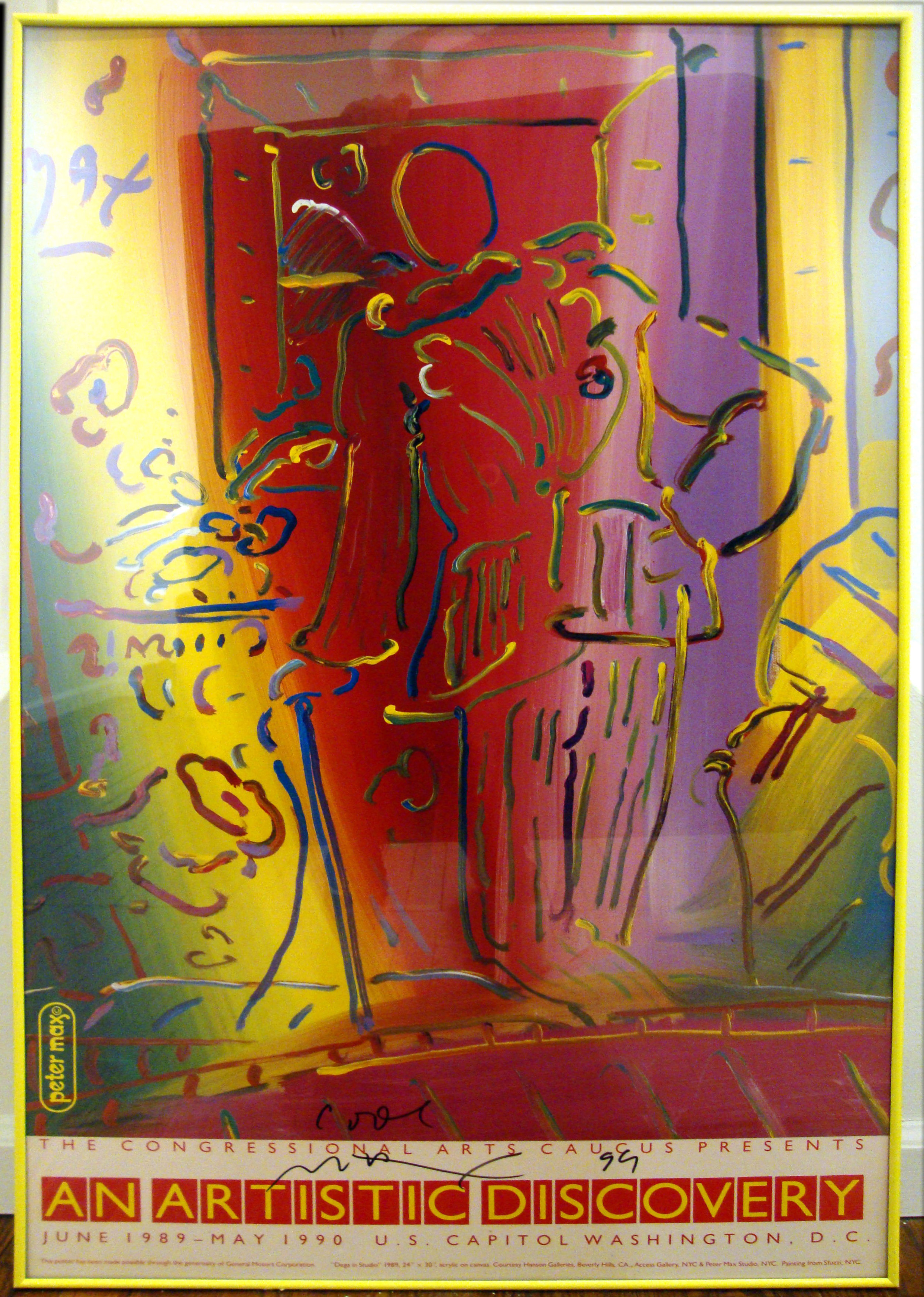 Peter Max, Dega in Studio, 1989, Poster, 36 x 24, signed and dated, promotion for congressional art competition.JPG