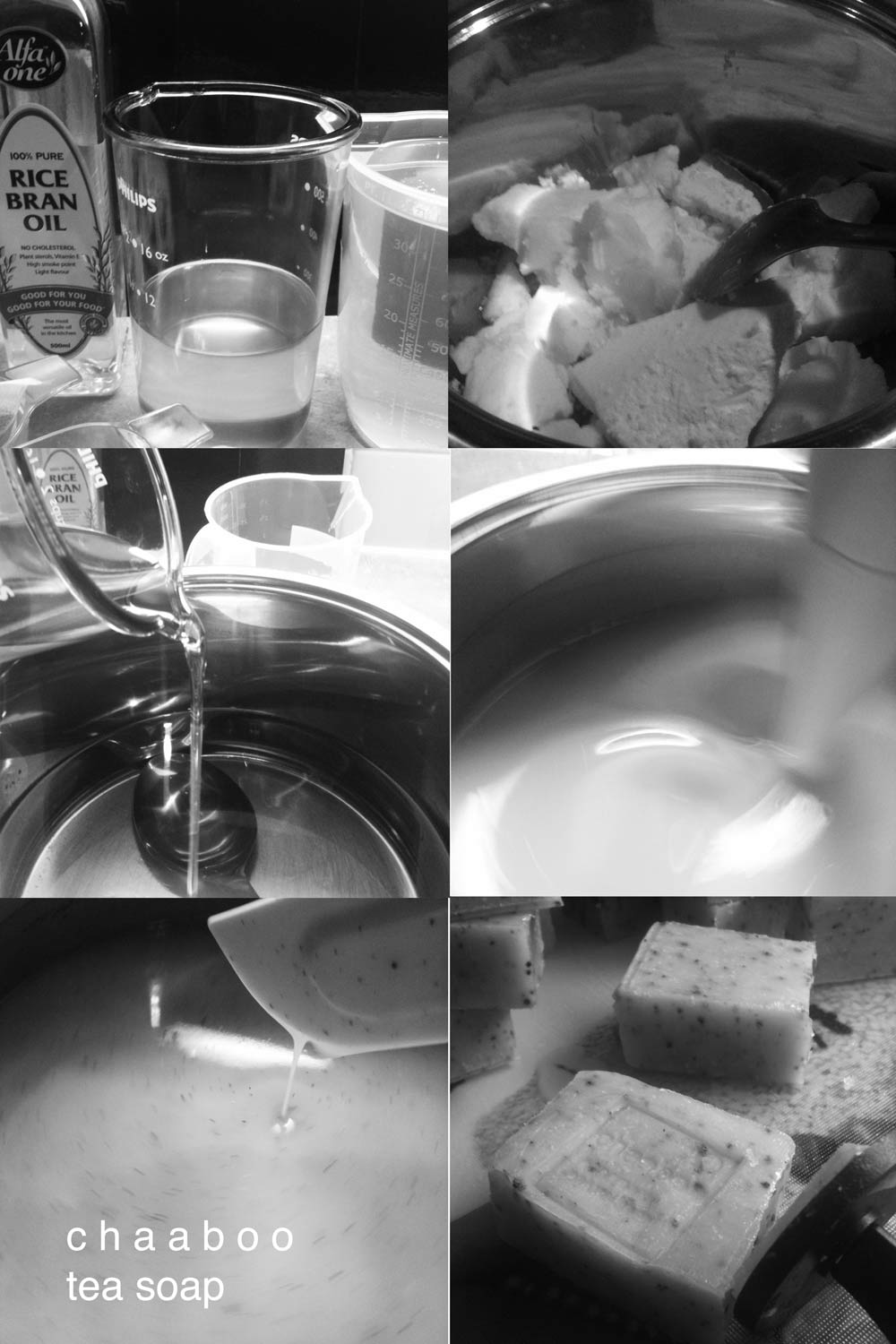 The soap is mixed, cooled, and stamped before it's ready to cure.