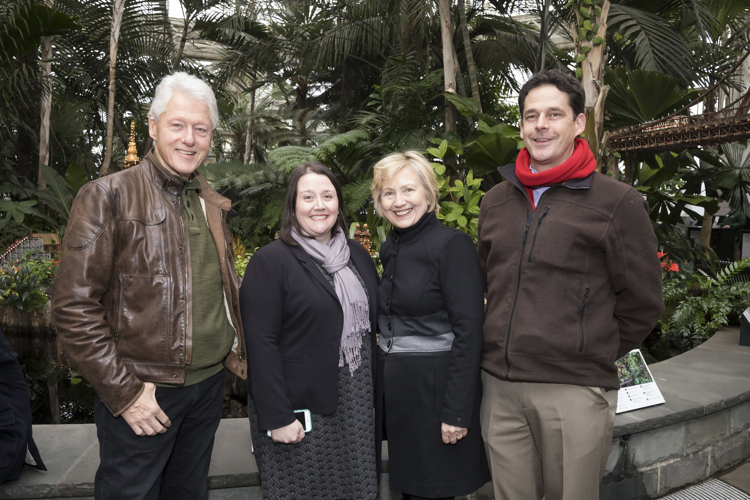 Former President Bill Clinton and Secretary Hillary Clinton visit the New York Botanical Gardens on December 26, 2016 in The Bronx. (Photo by Ben Hider)