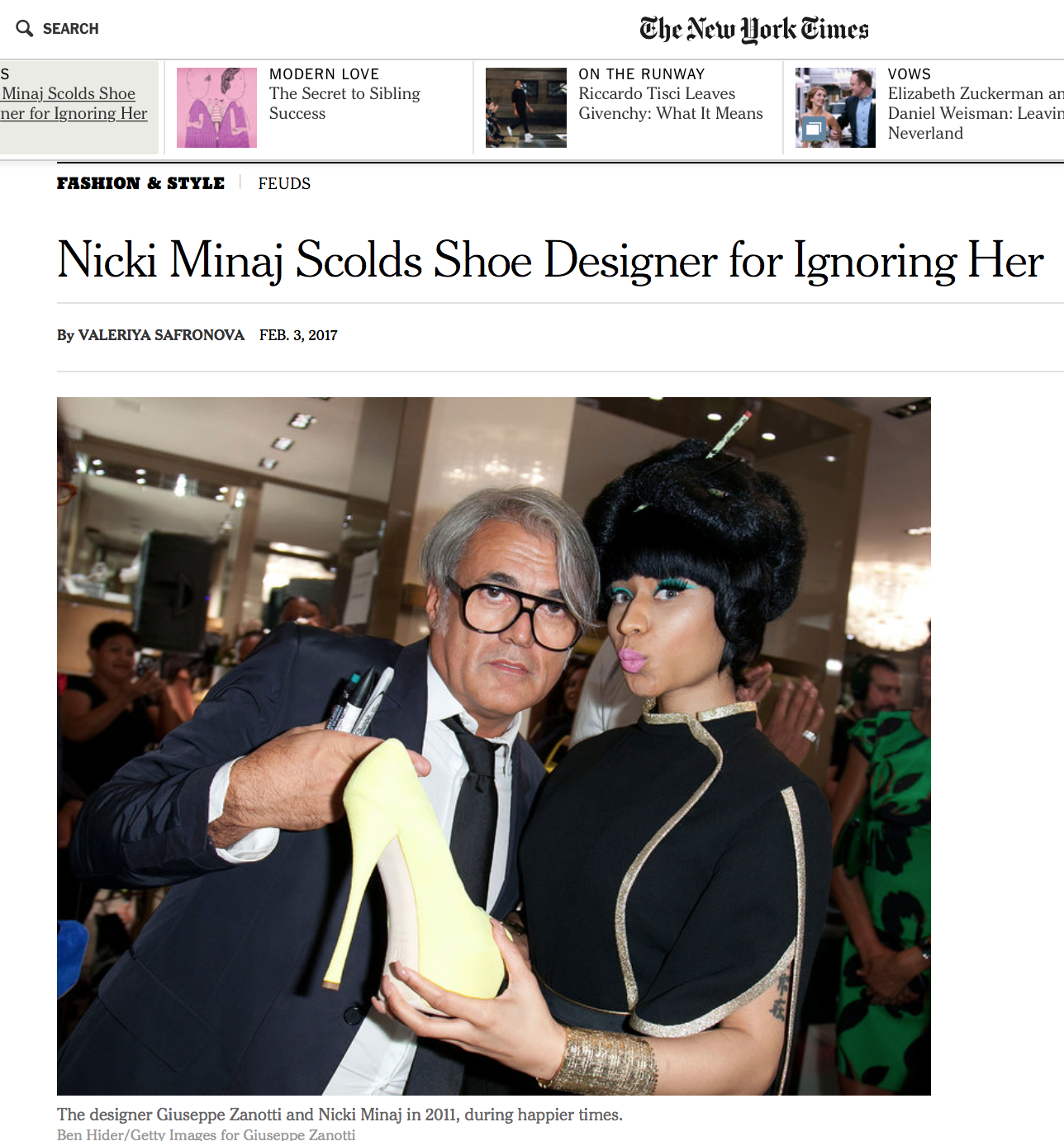 The designer Giuseppe Zanotti and Nicki Minaj in 2011, during happier times.  (Credit Ben Hider/Getty Images for Giuseppe Zanotti)