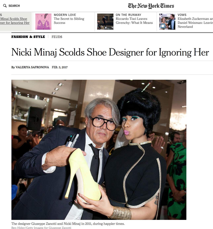 The designer Giuseppe Zanotti and Nicki Minaj in 2011, during happier times. (Credit Ben Hider/Getty Images for Giuseppe Zanotti)