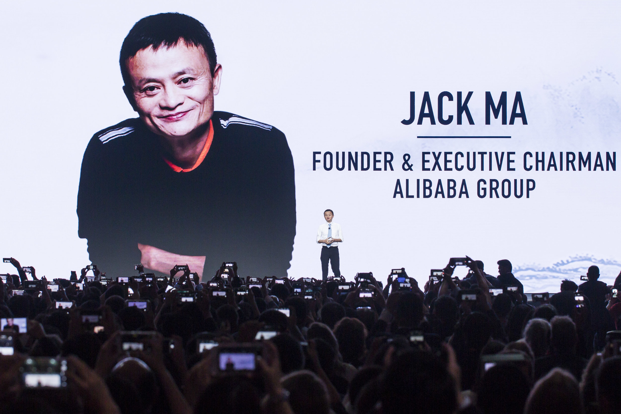 Jack Ma speaks at the Alibaba Gateway '17 conference in Toronto, Canada on September 25, 2017 (Photo by Ben Hider)