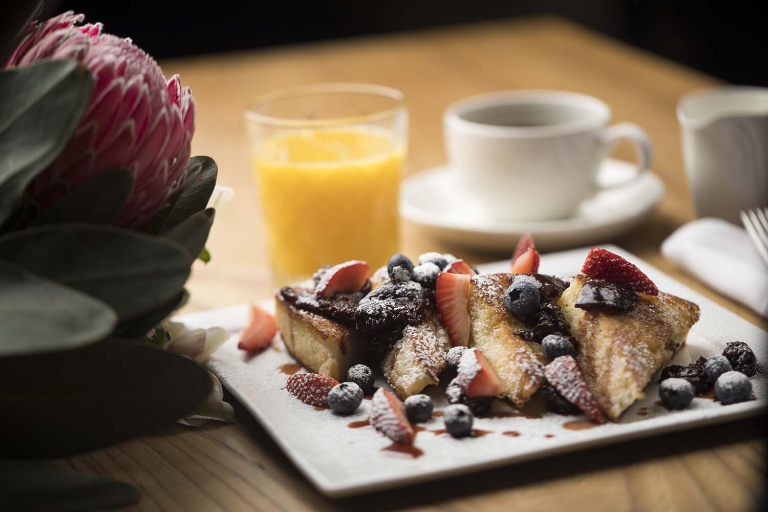 Mothers Day French Toast and fruit with flowers