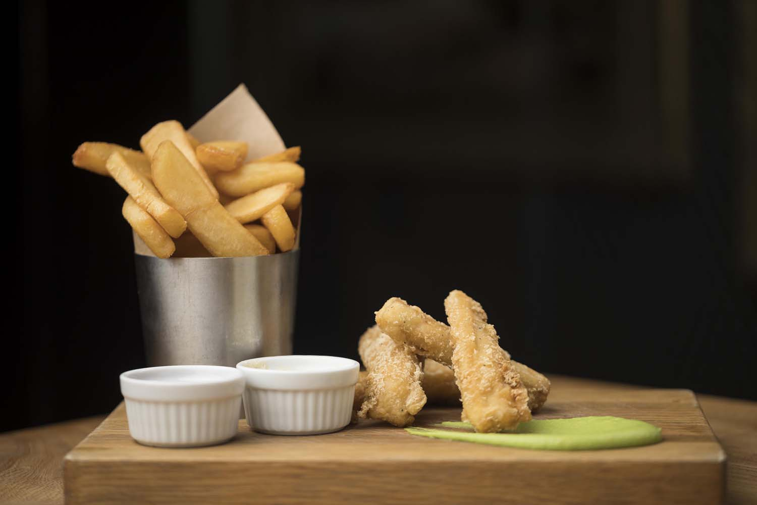 Fish and Chips with Mushy Peas smear in Brooklyn